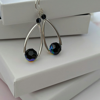 Earrings in sterling silver with black Swarovski crystals