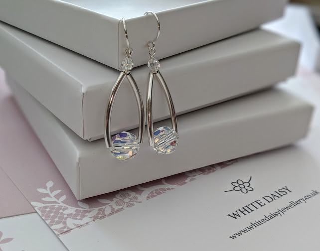 Versatile, contemporary sterling silver statement earrings with lots of sparkle