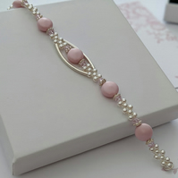 Pink Coin Pearl and Sterling silver Bracelet with Swarovski crystals for sparkle