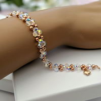 Sparkling Swarovski Crystal and Rose Gold Handwoven Bracelet