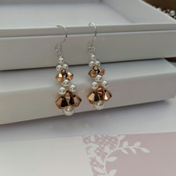 Rose gold Swarovski crystal and pearl Earrings