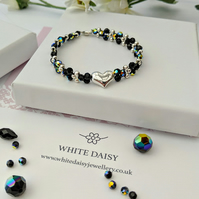 Swarovski Jet Crystal and Sterling Silver Heart Bracelet