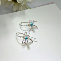 STERLING SILVER & SWAROVSKI CRYSTAL DRAGONFLY EARRINGS