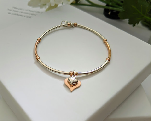 Sterling Silver and Rose Gold Double Heart Bracelet