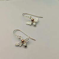 Bee Earrings sterling silver accessorised with rose gold