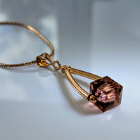 Rose Gold and Blush Rose cubed Swarovski crystal necklace
