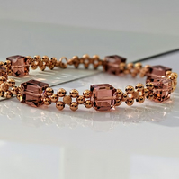 rose gold and Swarovski blush rose cubed crystal bracelet