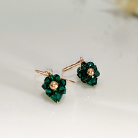 Emerald Swarovski crystal handmade earrings with a bronze pearl centre