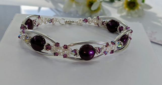 Sterling Silver Beaded Bracelet using blackberry colour coin pearl