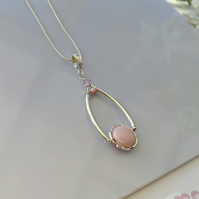 Pastel Pink Pearl and Swarovski crystal sterling silver Necklace