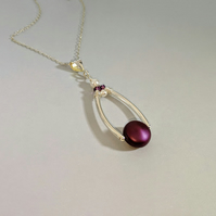 Pearl Swarovski crystal and Sterling Silver Pendant in a Elderberry Colour