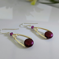 Handmade Earrings using Sterling Silver and Elderberry Coin Pearls and Crystal