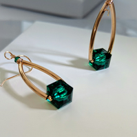 Exquisite glittering Emerald Swarovski crystal and rose gold earrings