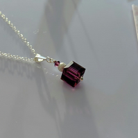 Sparkling dainty cubed amethyst Swarovski crystal and sterling silver necklace