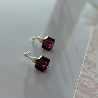Cubed Amethyst Swarovksi Crystal and Sterling Silver Earrings