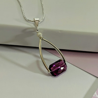 A Brilliant Flawless Amethyst Swarovski Crystal and Sterling Silver Necklace