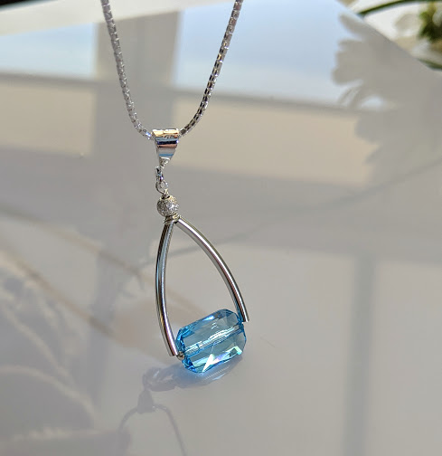 Sparkling Aquamarine Swarovski Crystal and sterling silver necklace Price drop