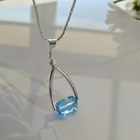 Sparkling Aquamarine Swarovski Crystal and sterling silver necklace