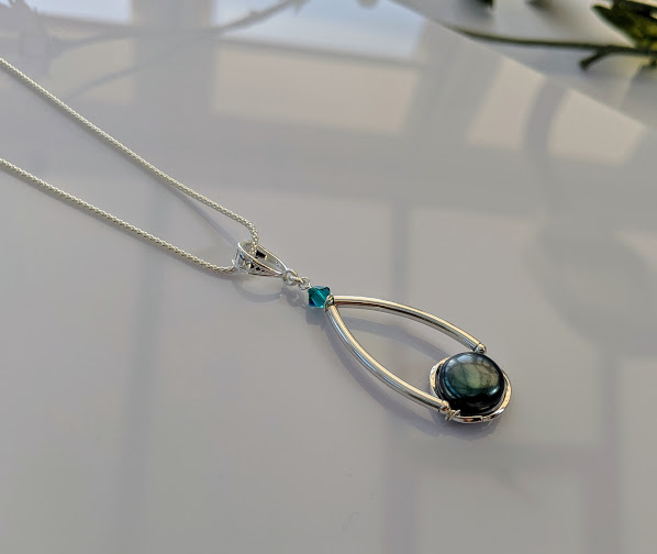 Blue Zircon and Tahitian Swarovski pearl and sterling silver necklace
