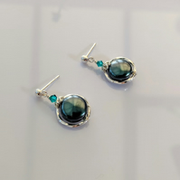 Earrings Blue Zircon Crystal Iridescent Tahitian pearls, Sterling Silver