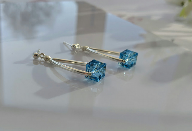 Earrings Cubes of Aquamarine Swarovski Crystal and Sterling Silver