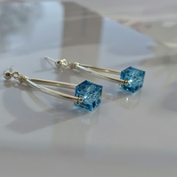 Earrings Contemporary Cubes of Aquamarine Swarovski Crystal and Sterling Silver