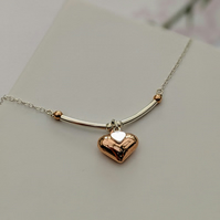 Contemporary Rose Gold and Sterling Silver Heart Pendant