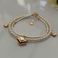 Rose Gold, Sterling Silver and pearl bracelet stacker set (two bracelets)