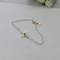 Bee Chain Bracelet in sterling silver with rose or yellow gold bead and heart.