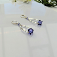 Designer Style Sparkling Tanzanite and Sterling Silver Earrings