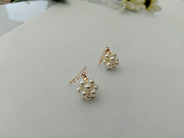 Handmade Pearl and Rose Gold Earrings