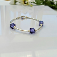 Tanzanite crystal and sterling silver bracelet
