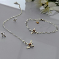 Bee Bracelet and Necklace Set in Sterling Silver with free stud earrings