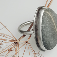 Sterling silver statement beach stone ring