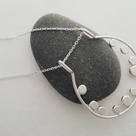 Sterling silver hoop and dots necklace