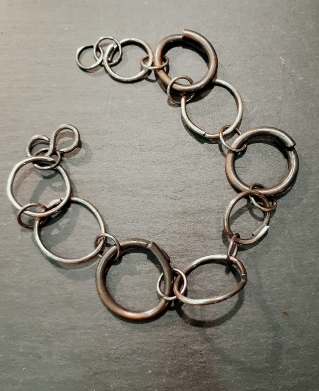 Sterling silver and copper circles link bracelet