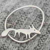 Sterling silver fox and hoop brooch