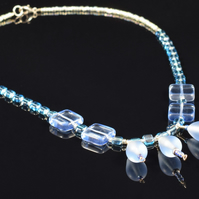 Sterling Silver & Blue Glass Necklace