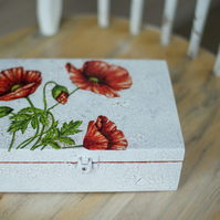 Hand painted & decorated box - Poppy