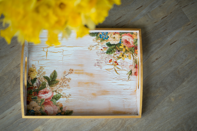 Hand painted & decorated tray