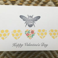 Valentine's Card - Bee & Hearts