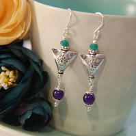 Purple & Teal Jade with Triangle Bead Sterling Silver Earrings