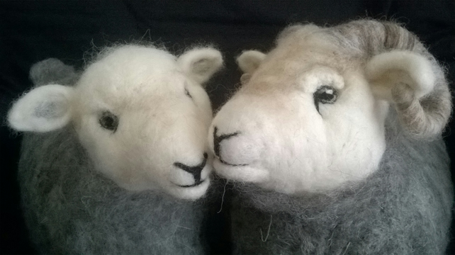 PAIR of Needle Felted Herdwick Doorstops, Ram & Ewe (price includes p&p)