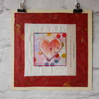 Love heart, contemporary heart for the home, art for a loved one.