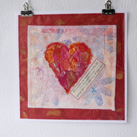 Original art, mixed media heart and words of love, red love heart.