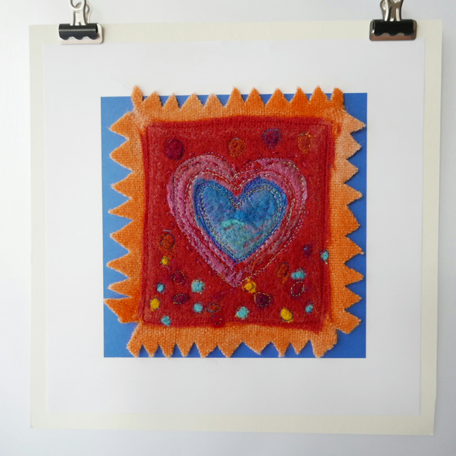 Heart picture, bright cheerful original felted heart, textile art picture