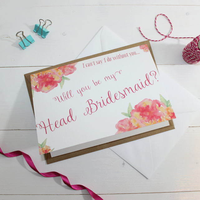 Will you be my Head Bridesmaid? Card Personalise Watercolour & Floral