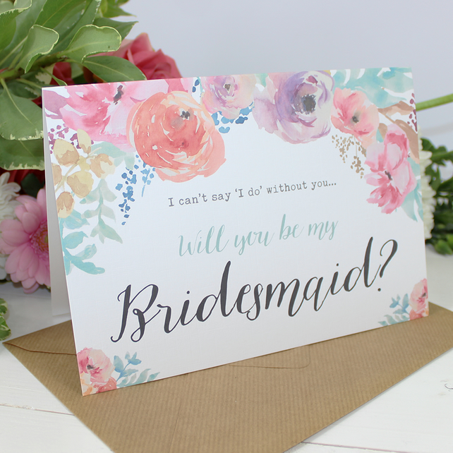 Will you be my Bridesmaid? Card - Wedding - Watercolour Flowers Personalise