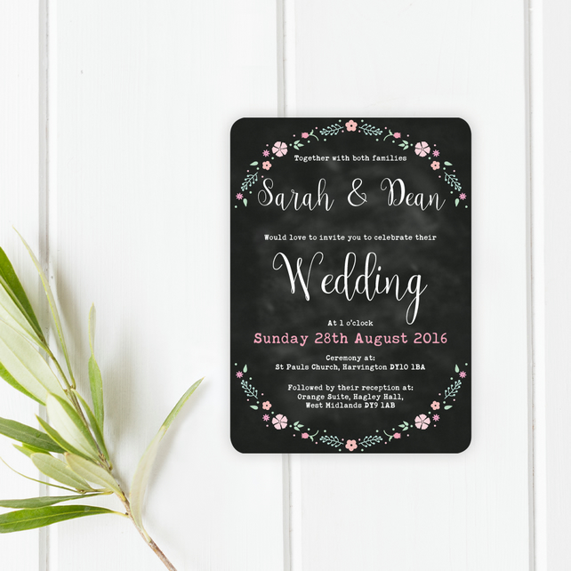 Chalkboard Floral Wreath Wedding Invitations - Lilly