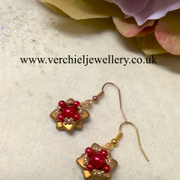 Gold & Red Flower Dangle Earrings